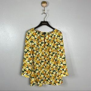 Talbots Yellow 3/4 Sleeve Floral Blouse, 8